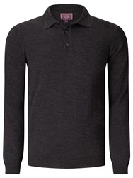 John Lewis Made In Italy Merino Long Sleeve Polo Shirt Charcoal