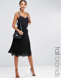 Y.A.S Tall Pleated Skirt With Lace Hem Black