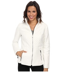 Dkny Stand Collar Quilted Scuba Jacket Off White Women's Coat Beige