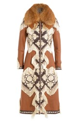 Alexander Mcqueen Embroidered Leather Coat With Fox Fur Camel