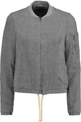 James Perse Linen Bomber Jacket Gray