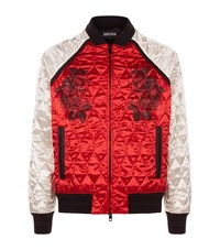 Just Cavalli Black Rose Satin Bomber Jacket Male Red
