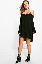 Boohoo Off Shoulder Eyelet Shirt Dress Black
