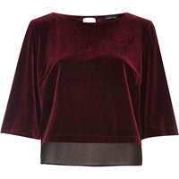 River Island Womens Dark Red Velvet Chiffon Hem Top