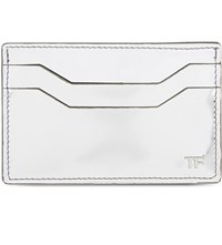 Tom Ford Metallic Leather Card Holder Silver