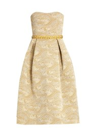 Mary Katrantzou Nevis Strapless Jacquard Dress Gold