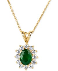Macy's Emerald 1 1 10 Ct. T.W. And Diamond 5 8 Ct. T.W. Pendant Necklace In 14K Gold Green