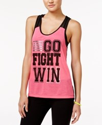 Material Girl Active Mesh Back Graphic Tank Top Only At Macy's Sparkling Pink