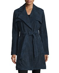 Neiman Marcus Long Sleeve Belted Suede Trenchcoat Navy