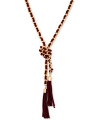 Guess Gold Tone Faux Suede Tassel Lariat Necklace Gold Burgundy