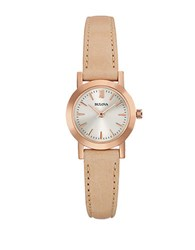 Bulova Dress Rose Goldtone And Leather Bracelet Watch