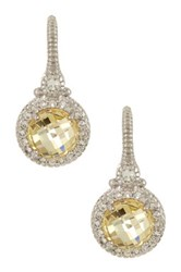 Judith Ripka Pave Trim Round Canary Crystal Earrings Yellow