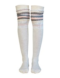 Lemon Sophie Herringbone Over The Knee Socks Grey