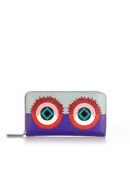 Fendi Bag Bugs Leather Wallet Purple Multi