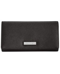 Calvin Klein Saffiano Leather Wallet Black Silver