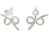 Kenneth Jay Lane Silver Crystal Top And Bow Drop Post Ear Jacket Earrings Silver Crystal Earring