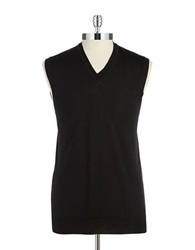 Black Brown Merino Wool Vest Black