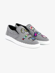 Mira Mikati Embroidered Houndstooth Slip On Sneakers Multi Coloured White