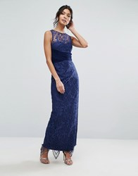 Little Mistress Sheer Lace Maxi Dress Navy