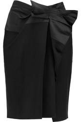 Lanvin Bow Embellished Satin And Twill Skirt Black