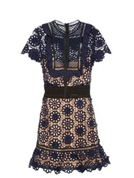 Self Portrait Louisa Guipure Lace Dress Navy Multi
