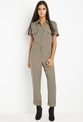 Forever 21 Buttoned Utility Jumpsuit Olive