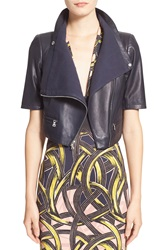 Yigal Azrouel Crop Lambskin Leather Jacket Midnight