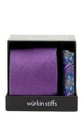 Wurkin Stiffs Solid Tie And Pocket Square Set Purple