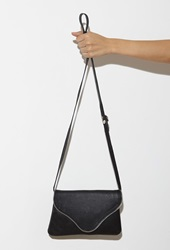 Forever 21 Jj Winters Camilla Textured Leather Crossbody Black Silver