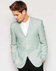 Asos Slim Blazer In Tweed In Blue Blue