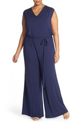 Plus Size Women's Sejour Wide Leg V Neck Jumpsuit