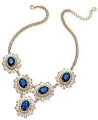 Charter Club Gold Tone Blue And Baguette Crystal Statement Bib Necklace Only At Macy's