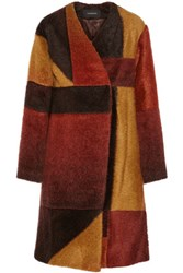 Thakoon Patchwork Knitted Coat Brown