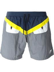 Fendi Bag Bugs Swim Shorts Grey