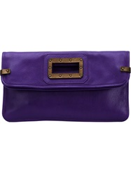 Tomas Maier Studded Handle Envelope Clutch Pink And Purple