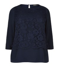 Marina Rinaldi Lace Overlay Top Female Navy