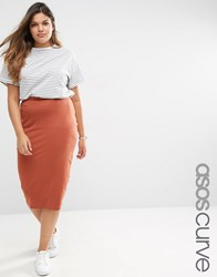 Asos Curve Midi Pencil Skirt In Jersey Ginger Orange