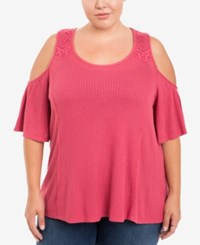 Eyeshadow Trendy Plus Size Cold Shoulder Top Dark Pink