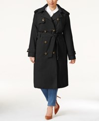 London Fog Plus Size Double Breasted Long Trench Coat Black