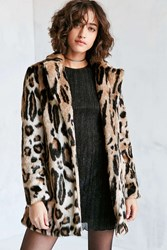 Glamorous Leopard Faux Fur Coat Brown Multi