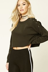 Forever 21 Boxy Lace Up Sweatshirt Olive