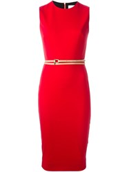 Victoria Beckham Belted Fitted Dress Red
