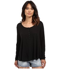 Amuse Society Kellyn Knit Long Sleeve Top Black Women's Clothing