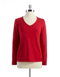 Lord And Taylor Long Sleeve V Neck Shirt Red