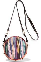 M Missoni Printed Pvc Leather And Suede Shoulder Bag Yellow