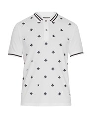Gucci Bee And Star Embroidered Cotton Polo Shirt White Multi
