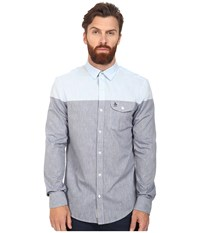 Original Penguin Long Sleeve Color Block Nep Chambray Dark Sapphire Men's Long Sleeve Button Up Blue