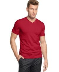 Alfani Red Fitted V Neck T Shirt Fierce Red