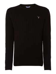 Gant Crew Neck Cable Knit Jumper Black