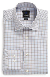 David Donahue Men's Big And Tall Trim Fit Check Dress Shirt Sky Cocoa
